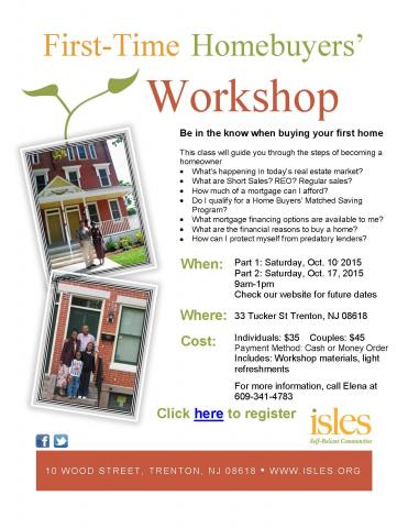 First time homebuyer 39 s workshop isles inc for First time home buyers plan
